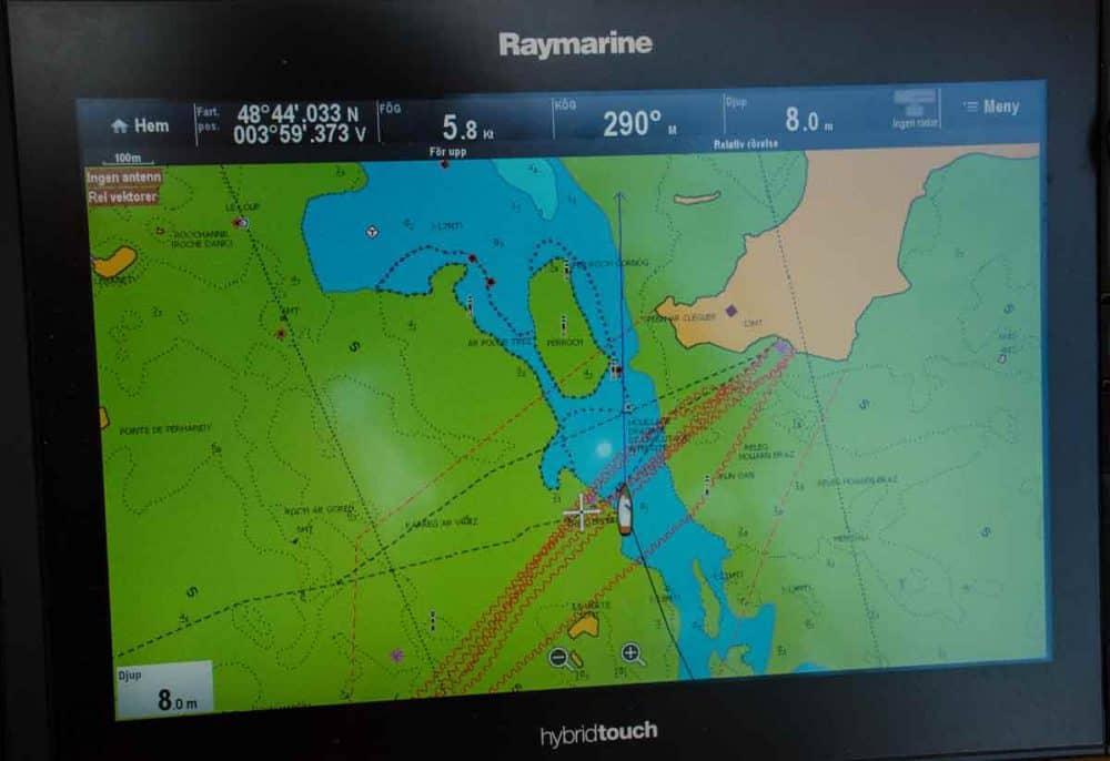 plotter sjökort över kanal